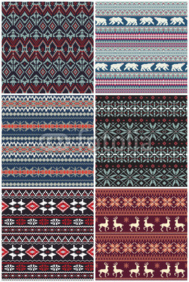 268x400 Vector Nordic Jacquard Knitted Seamless Pattern Collection Buy