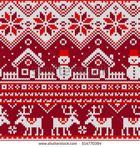 450x470 Christmas Seamless Pattern With Ornaments Of A Jacquard Knitting