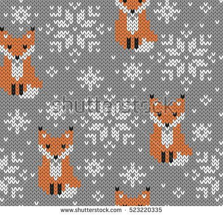 450x435 Foxes Jacquard Knitted Seamless Pattern. Winter Background With
