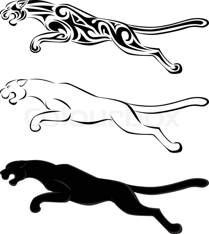 716x800 Jaguar Silhouette Tattoo Stock Vector Colourbox