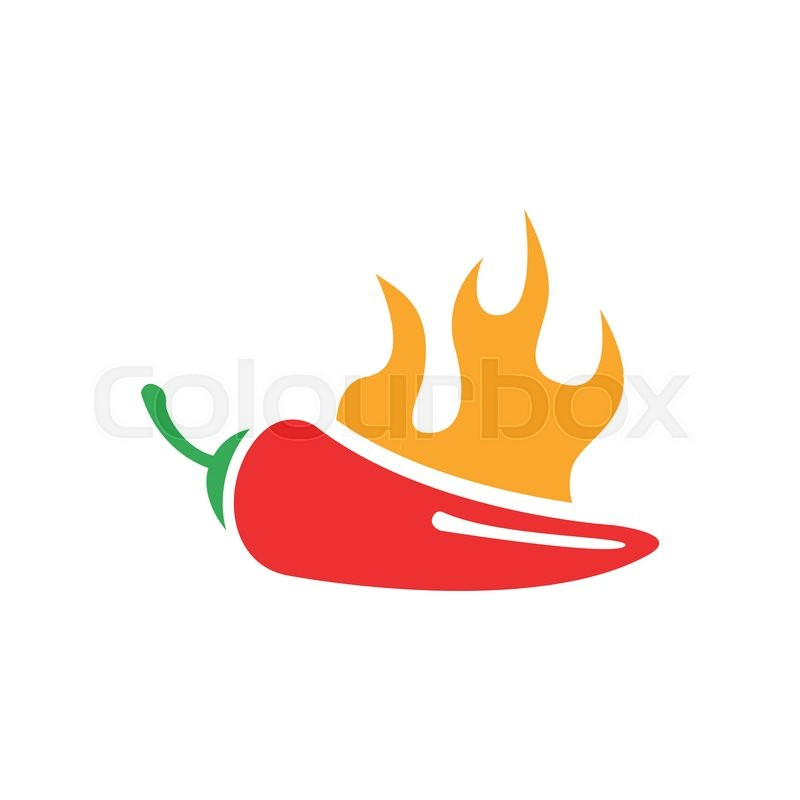 800x800 Vector Red Chilli Pepper Icon And Yellow Fire. Jalapeno Peppers
