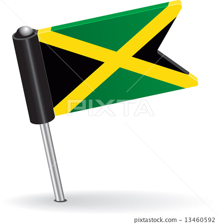 450x458 Jamaica Pin Icon Flag. Vector Illustration