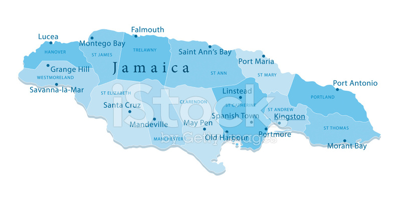 798x393 Jamaica Vector Map Regions Isolated Stock Vector