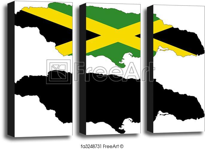 685x498 Art Block Print Of Jamaica. Vector Map And Flag Of Jamaica With
