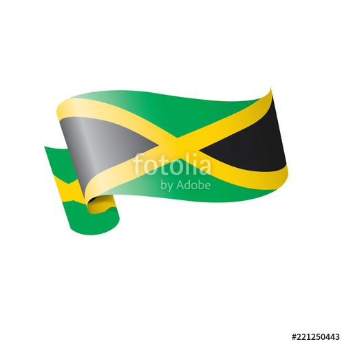 500x500 Jamaica Flag, Vector Illustration On A White Background Stock