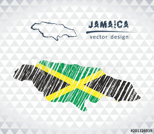 500x434 Jamaica Vector Map With Flag Inside Isolated On A White Background
