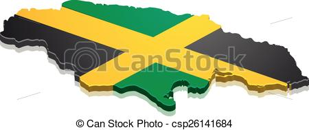 450x189 Map Jamaica. Detailed Illustration Of A Map Of Jamacai With Flag