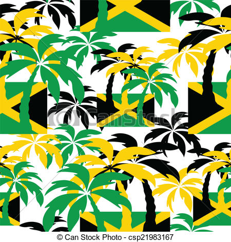 450x470 Palm Trees In Jamaica Colors. Seamless Background. Palm Trees In