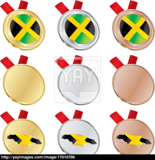 495x512 Jamaica Vector Flag In Medal Shapes Vector