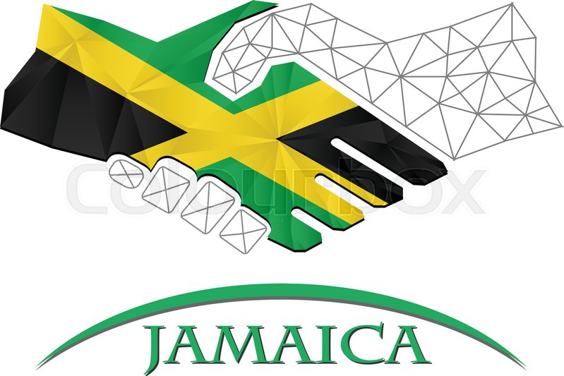 799x533 Handshake Logo Made From The Flag Of Jamaica. Stock Vector