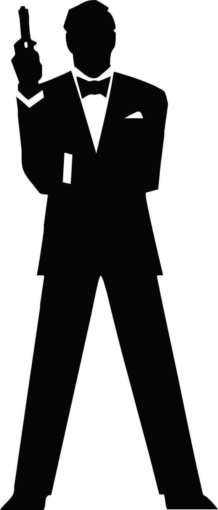 736x1721 Free Vector James Bond Secret Agent 007 Black Amp White Silo Vector