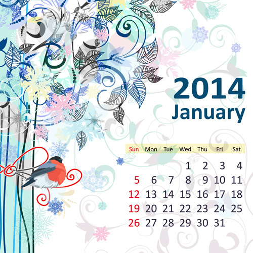 500x500 2014 Floral Calendar January Vector Free Vector In Encapsulated