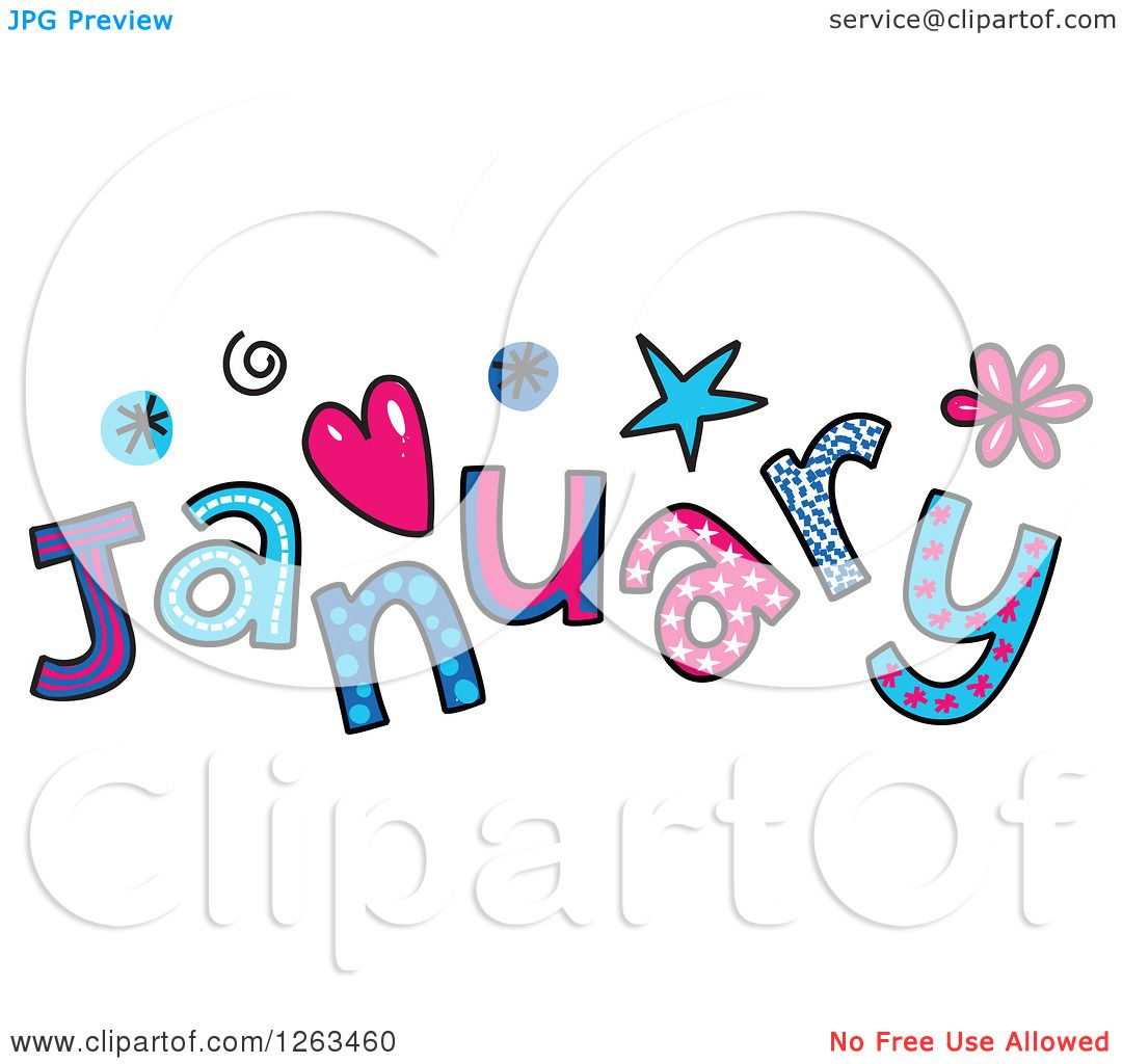 1080x1024 Clipart Of Colorful Sketched Month Of January Text