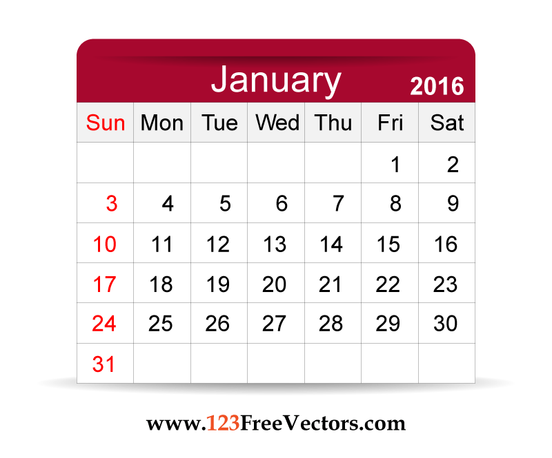 800x665 Free Vector 2016 Calendar January 123freevectors