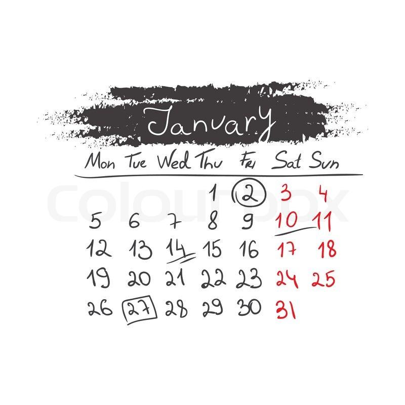 800x800 Handdrawn Calendar January 2015. Vector Illustration. Design