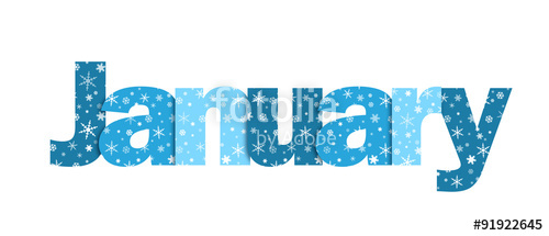 500x215 January Vector Snowflake Letters Icon (Blue) Stock Image And