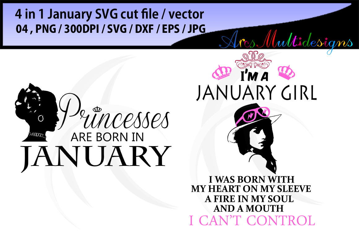 1160x772 January Girl Svg Vector Cut File Bundle 4 In 1 Printable January