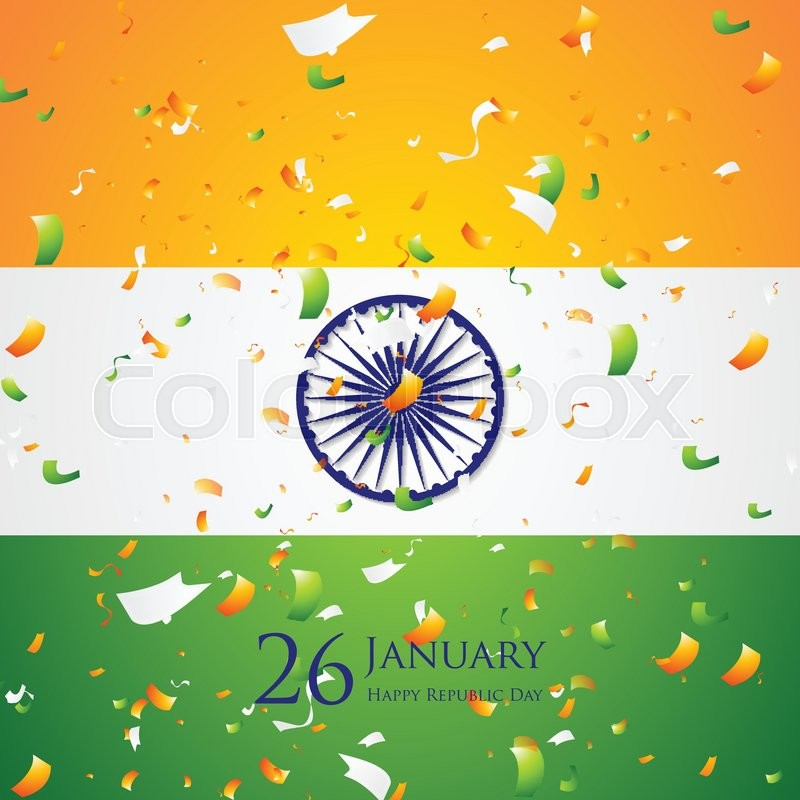 800x800 Bright Confetti On Indian Flag Background. Republic Day 26 January