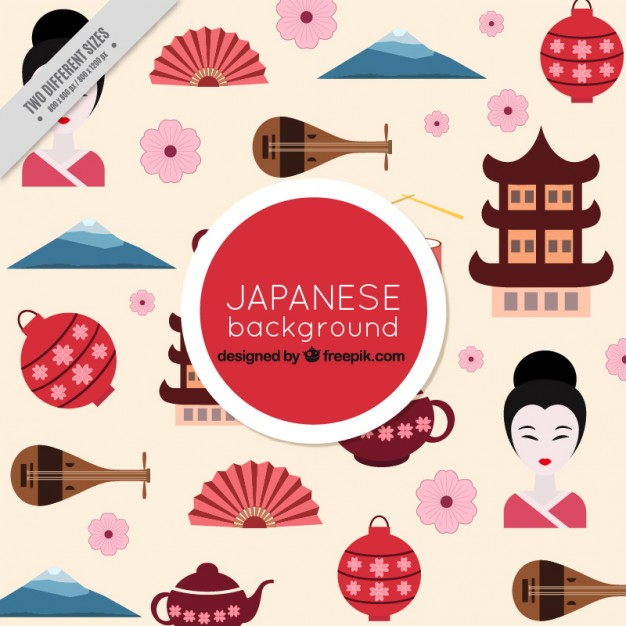 626x626 Japan Culture Elements In Flat Design Background Vector Free