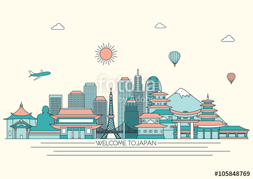 500x354 Japan Detailed Skyline. Travel And Tourism Background. Vector