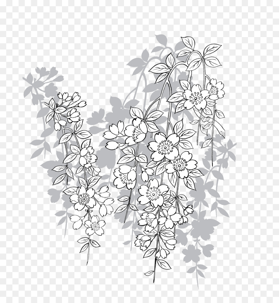 900x980 Download Cherry Blossom Vector Gray Japanese Cherry Element