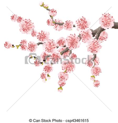 450x470 Spreading Branch Of Pink Cherry Blossom. Eps 10. Japanese Cherry