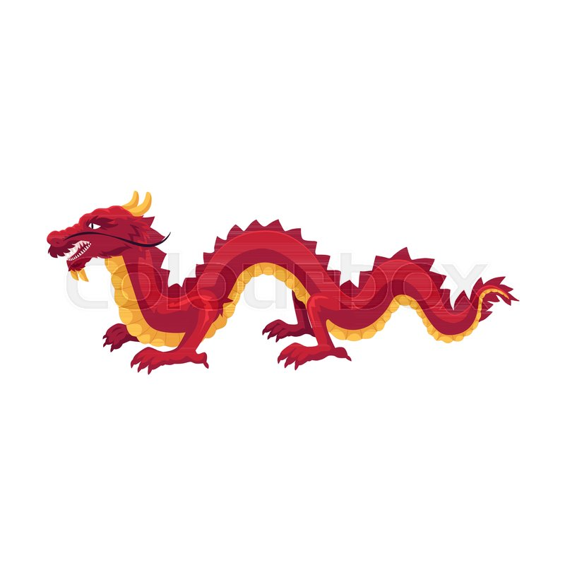800x800 Chinese, Japanese Red Dragon Standing On Four Paws, Cartoon Vector