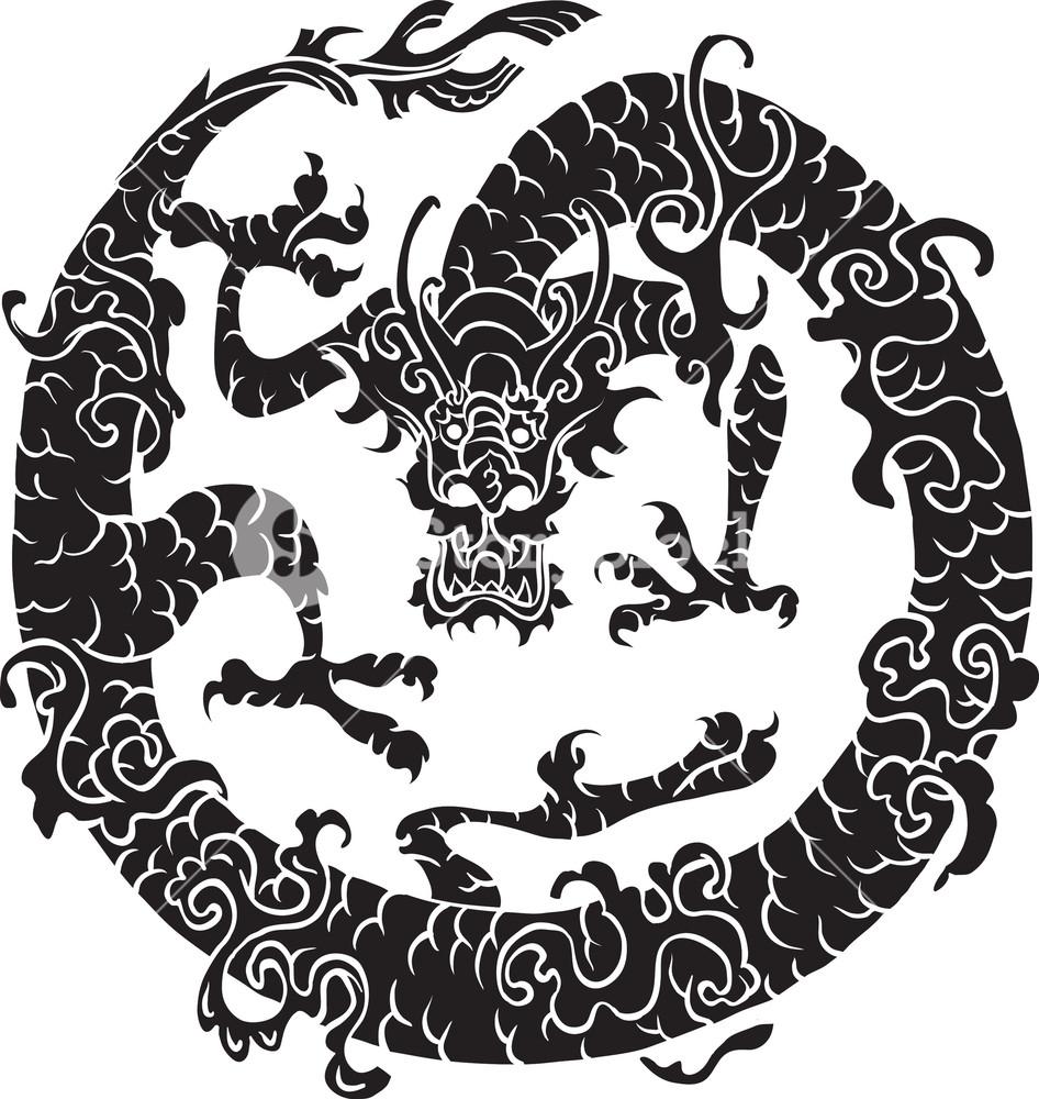 946x1000 Japanese Vector Dragon Royalty Free Stock Image