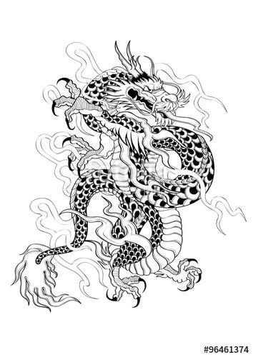 354x500 Vector Illustration Graphic Tattoo Japanese Style Dragon Capricorn