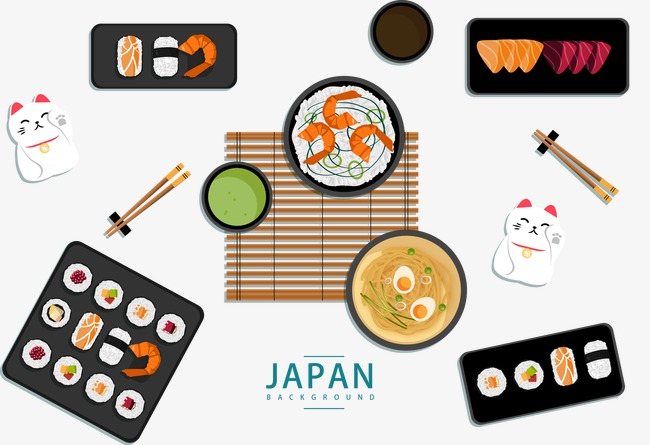 650x445 Japanese Food Culture Elements Background, Food Vector, Vector