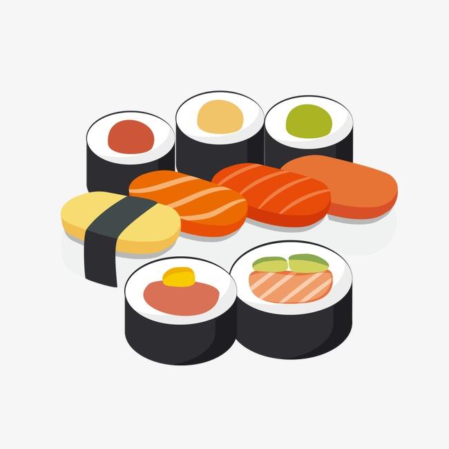 650x650 Japanese Food Sushi Cartoon Vector Material, Food Vector, Cartoon