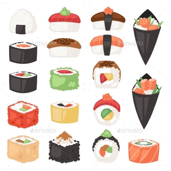 590x590 Japanese Food Vector Sushi Sashimi Roll Or Nigiri By Pantimetrok
