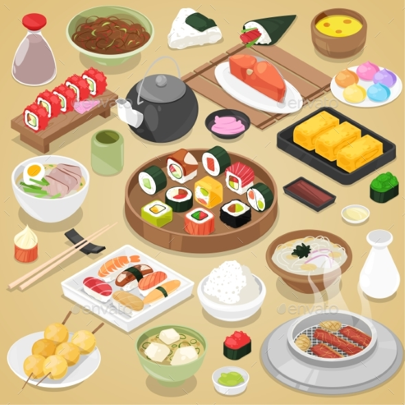 590x590 Japanese Food Vector By Pantimetrok Graphicriver