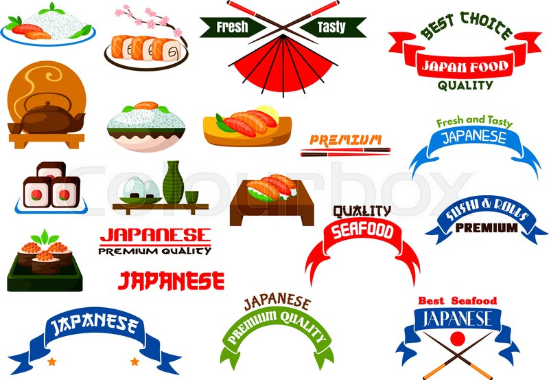 800x553 Japanese Cuisine Signs Set. Sushi Restaurant Vector Isolated Icon