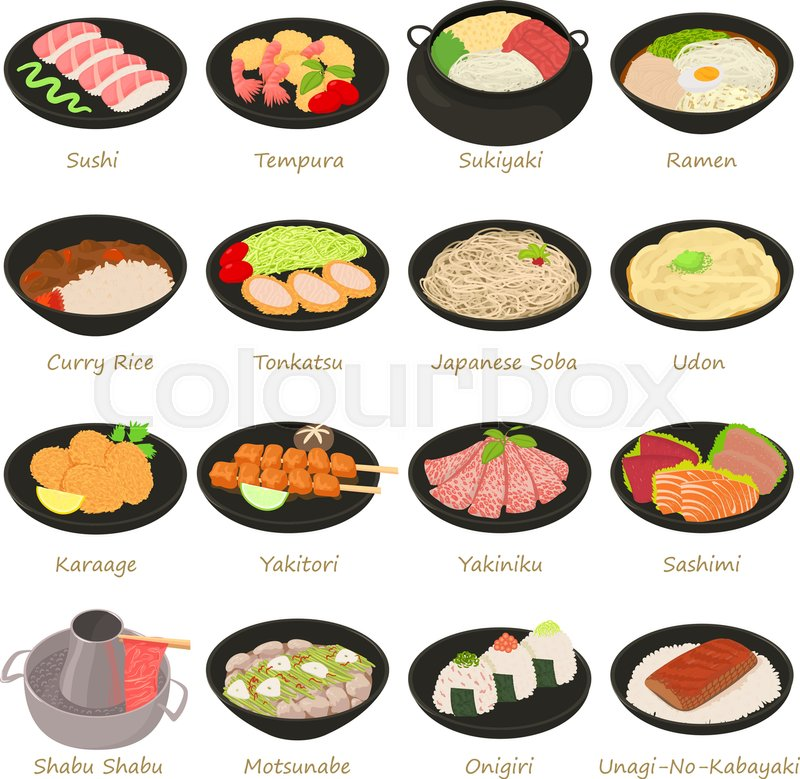 800x779 Japanese Food Icons Set. Cartoon Illustration Of 16 Japanese Food