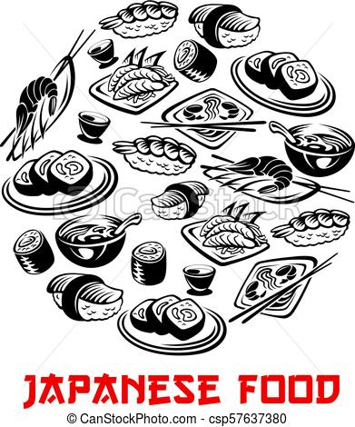 391x470 Japanese Food Poster And Vector Sushi And Rolls. Japanese Food
