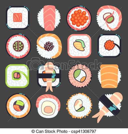 450x470 Japanese Food Sushi Vector Illustration, Set Of Type Seafood Roll.