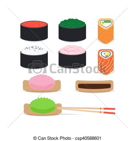 450x470 Japanese Food Vector Icons Set On White Background.
