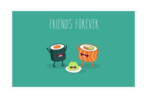 473x315 Sushi Roll And Wasabi. Japanese Food. Vector Cartoon. Friends