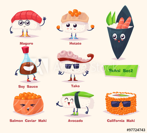 500x451 Sushi Set. Soy Sauce And Sushi Roll. Japanese Food. Vector Cartoon