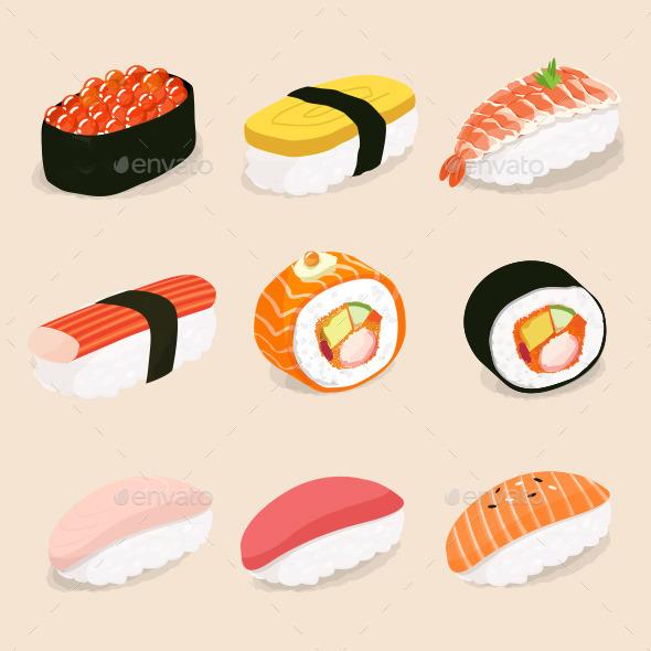 590x590 Sushi Vector By Stevecopyz Graphicriver