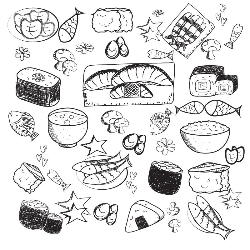 800x800 Hand Painted Delicious Japanese Food Vector [Ai]