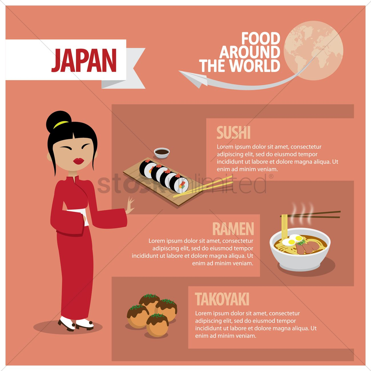 1300x1300 Infographic Of Japanese Food Vector Image
