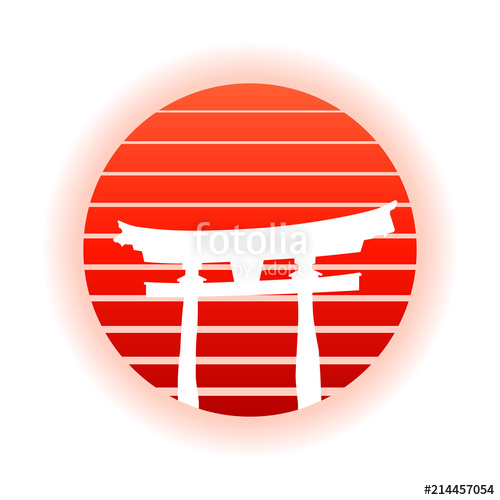 500x500 Japanese Torii Gate And Red Rising Sun. Eps10 Vector With