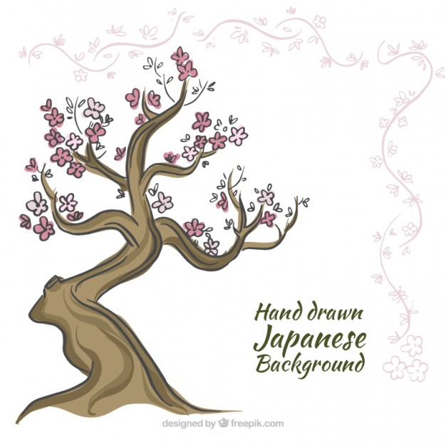 626x625 Hand Drawn Japanese Tree Background Vector Free Download