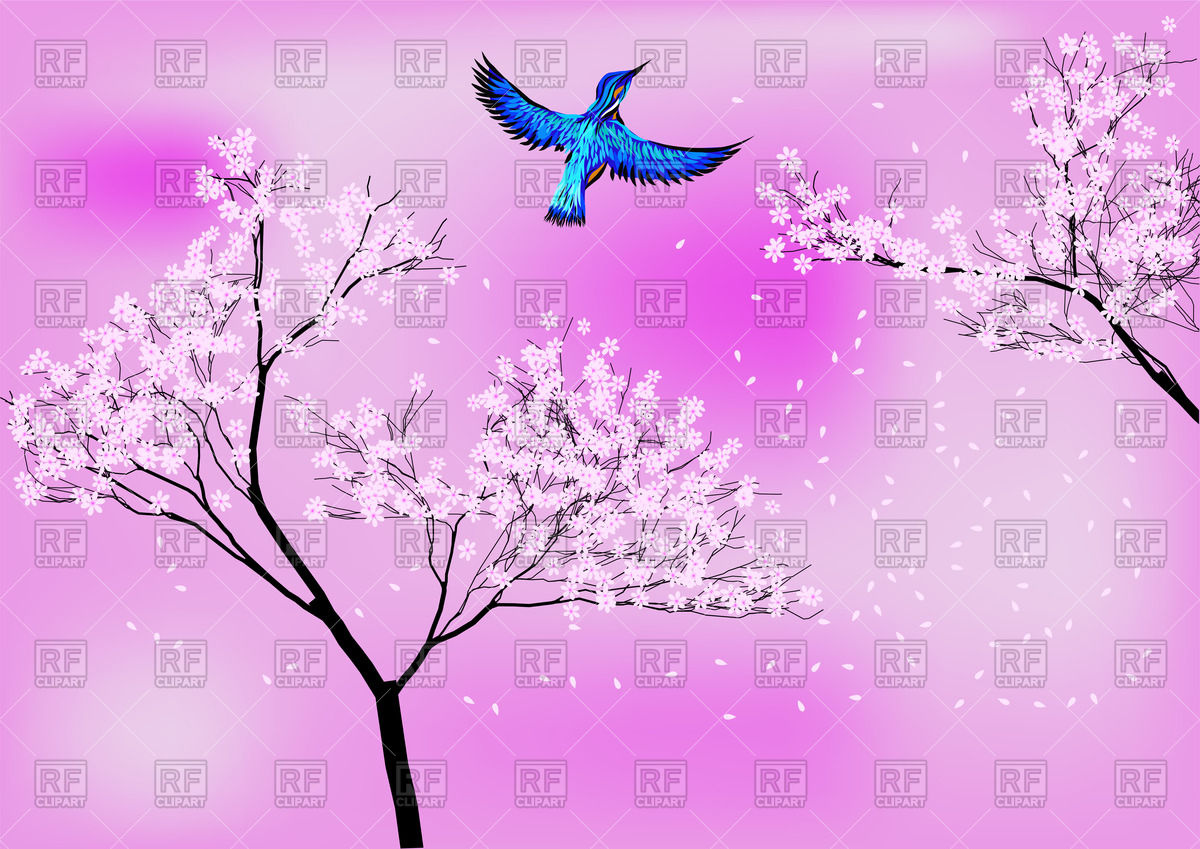 1200x849 Japanese Background With Blossom Tree And Blue Bird Vector Image