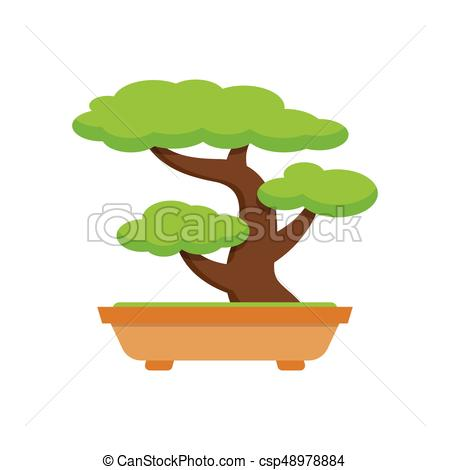 450x470 Tree Bonsai. Japanese Tree. On White Background, Vector Illustrations.