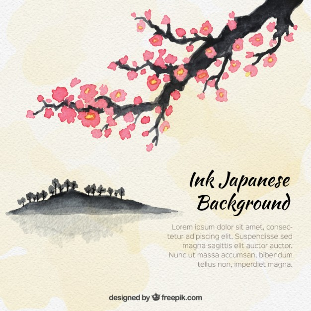 626x626 Watercolor Japanese Tree Background Vector Free Download