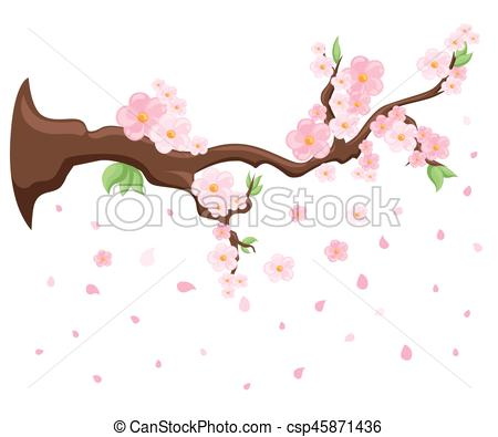 450x395 Branch Of Pink Blossoming Sakura. Japanese Cherry Tree. Vector