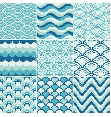 380x400 Wave Vector Ocean Wave Japanese Art Seamless Ocean Wave Pattern
